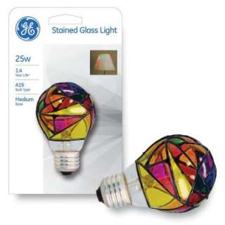 GE 25 Watt Stained Glass Incandescent Light Bulb 25A/SG CD/PQ1/5 at