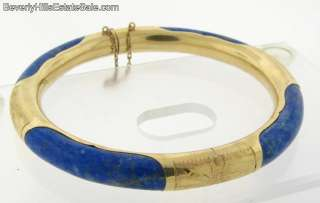 Lovely Vintage Chinese 14k Gold & Lapis Bangle Bracelet 23.6 grams