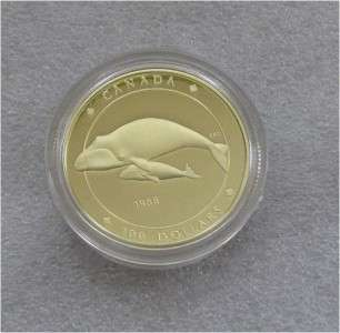 CANADA $100 DOLLARS GOLD COIN, WHALE 1988 PROOF