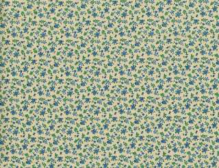 Quilting Fabric Calico Print Fern Floral Blue Beige Brown Tan Green