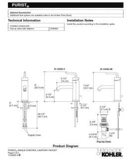 Kohler Purist® K 14402 4 CP Single Lever Lav Faucet NIB