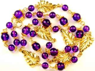 VINTAGE TRIFARI AMETHYST LUCITE GOLD LEAVES NECKLACE
