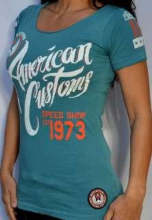 Affliction Womens SPEED SHOP Short Sleeve Scoop Neck T Shirt   AW4522