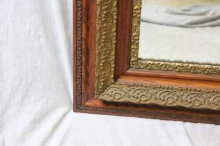 L50 ANTIQUE LARGE 19TH CENTURY ORNATE CARVED WOOD GILT WALNUT MIRROR