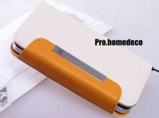 White Holster Clip Pouch Flip leather case wallet for iPhone 4 4S