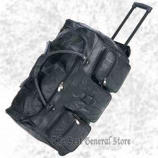"24"" Black Leather Rolling Duffle Gym Bag Luggage"