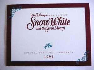 Walt Disney 1994 Lithograph Snow White & Seven Dwarfs