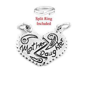SILVER MOTHER DAUGHTER SPLIT HEART CHARM W/ SPLIT RING