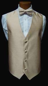 New Mens Jean Yves Sand Fullback Vest & Bow Tie Tuxedo Wedding Prom