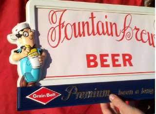Grain Belt Beer Stanley & Albert Vacuform Plaque Sign fountian brew