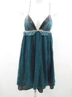 DESIGNER Blue Crochet Metallic Spaghetti Strap Dress S