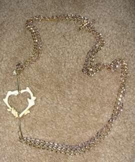 Yellow Rose Gold Plated Large Cream Enamel Heart Necklace $195