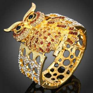 ARINNA Swarovski Crystals owl gold GP Bangle Bracelet