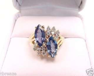 CEYLON BLUE SAPPHIRES MARQUISE & DIAMONDS 14K GOLD RING