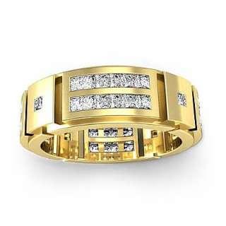 2ct Diamond Ring Men Channel Wedding Band Y18k Gold s10
