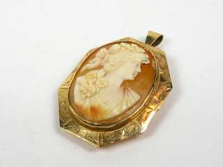 Victorian 1890s Carved Shell Cameo 10k Y Gold Pin Pendant 7.4g