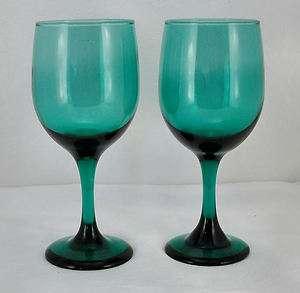 LIBBEY PREMIERE GREEN WINE WATER GLASS 7 PAIR 2
