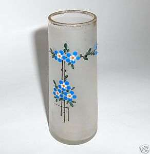 ANTIQUE ART DECO SPRING FLOWERS FROSTED GLASS VASE