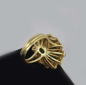 Estate Vintage Green Turquoise Diamond 18k Gold Ring