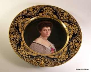 Antique Royal Vienna Portrait Plate Jeweled Gilt Border Charlotte v