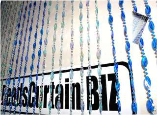 Multi Blue Twisted Beads Beaded Curtain Door/Window Art