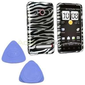 For Sprint HTC EVO 4G Silver Black Zebra Rubber Hard Phone Case Cover
