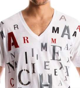 Armani Exchange Font V Neck T Shirt Steeple White NWT