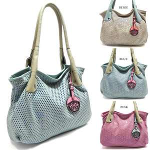 New Designer Inspired Perforated Leather Shoulder Bag Hobo Satchel