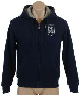 NEW NWT TOMMY HILFIGER MENS FUR LINED CREST LOGO HOODED SWEATSHIRT