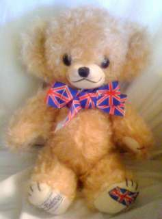 MERRY THOUGHT MOHAIR TIDE RIDER TEDDY BEAR ENGLISH FLAG