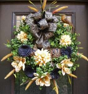 Summer Wreath Elegant Black & Gold Damask Floral Fall Door Designer