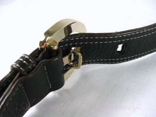 Anne Klein Newtown Pebbled Leather Buckle Hobo Purse Bag Black