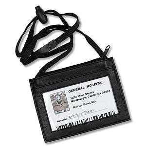 Prestige Medical ID Pouch Badge Holder Lanyard BLACK