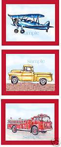Vintage Red Truck Fire RED Airplane Boys Room Art