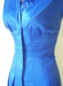 Woman Blue Cotton Print V Neck Casual Cocktail dress 16W 16 NWT