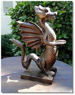 STATUE w Bronze finsh Cast Iron Winged Eragon sculpture girl
