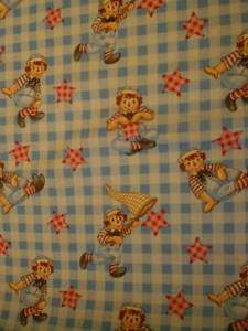 Raggedy Ann & Andy Blue Cotton Fabric
