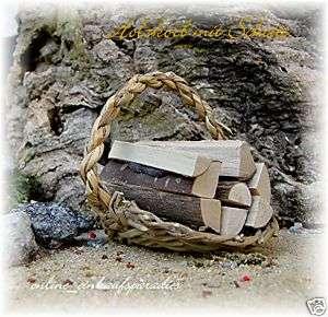 Krippenzubehör Holzkorb mit Scheite (MIR) 5cm