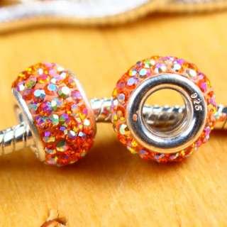 925 Sterling Silver AUSTRIA AB Crystal Gems Big Hole Charm European