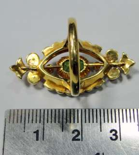 Victorian vintage antique 18 ct solid gold ring peridot & pearls