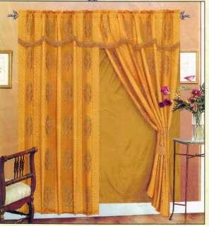 Gold Jacquard Window Curtains+Valance+Backing