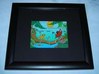 on a RARE The Lion King Simba Timon Pumbaa Framed Stamp DISNEY