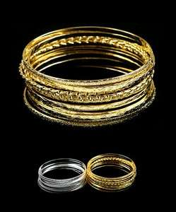 bracelet bangle cuff trendy stack 12 piece gold and silver tone