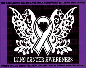 cancer ribbon butterfly lung love hope breast love A482