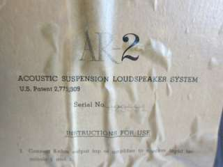 Pair of ACOUSTIC RESEARCH AR 2 Speakers Works Great   Estate Find