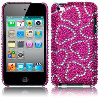 LOVE HEARTS DIAMANTE CASE COVER IPOD TOUCH 4TH GEN PINK