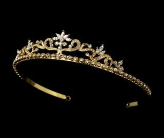 GOLD SPARKLING CRYSTAL FLORAL TIARA   BRIDAL WEDDING HAIR ACCESSORIES