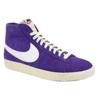 Nike Blazer High Premium Retro Mens Laced Suede Trainers Purple White