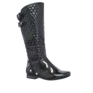 WOMENS BLACK PATENT QUILTED LADIES BIKER BOOTS Size 3 8