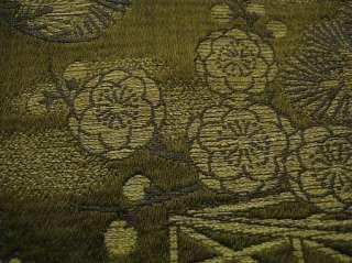 Japanese Kimono MARU OBI Deep Green Vintage Silk15a5018